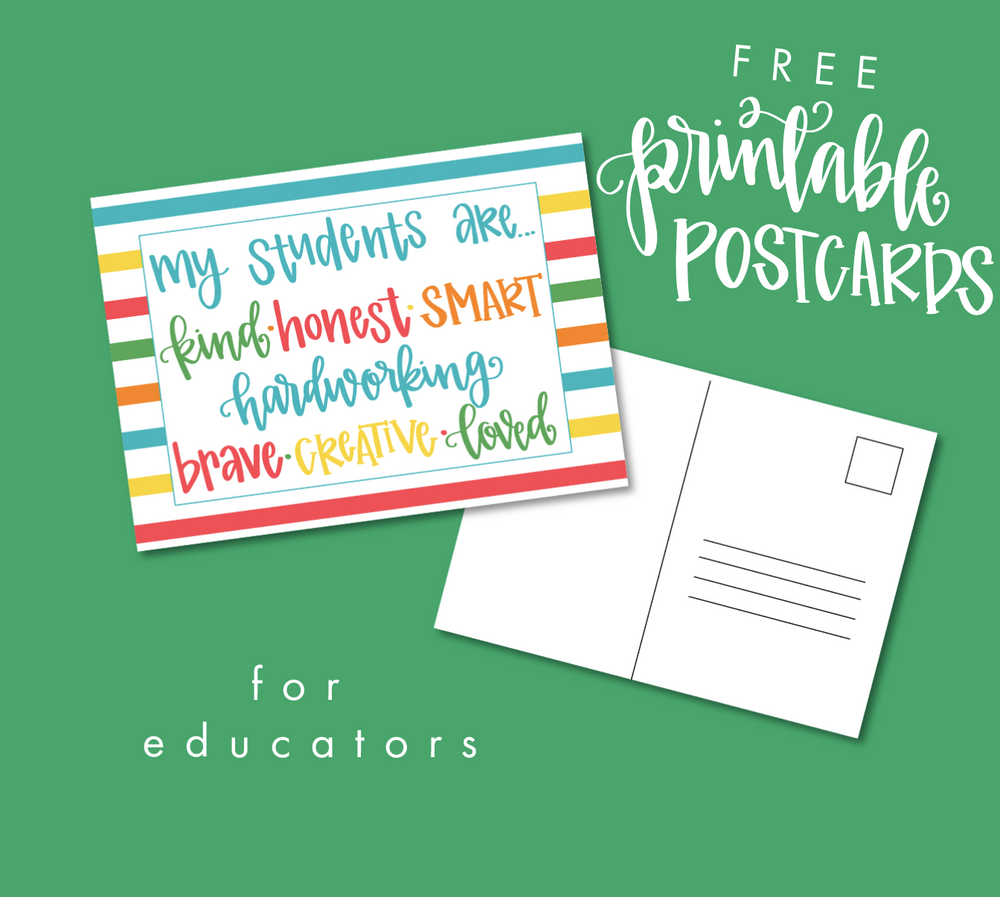 Teacher Postcards Printable