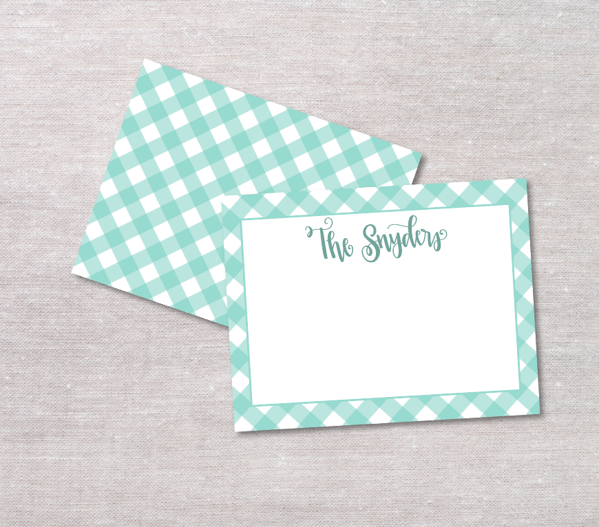 Gingham Custom Hand Lettered Flat Notecards