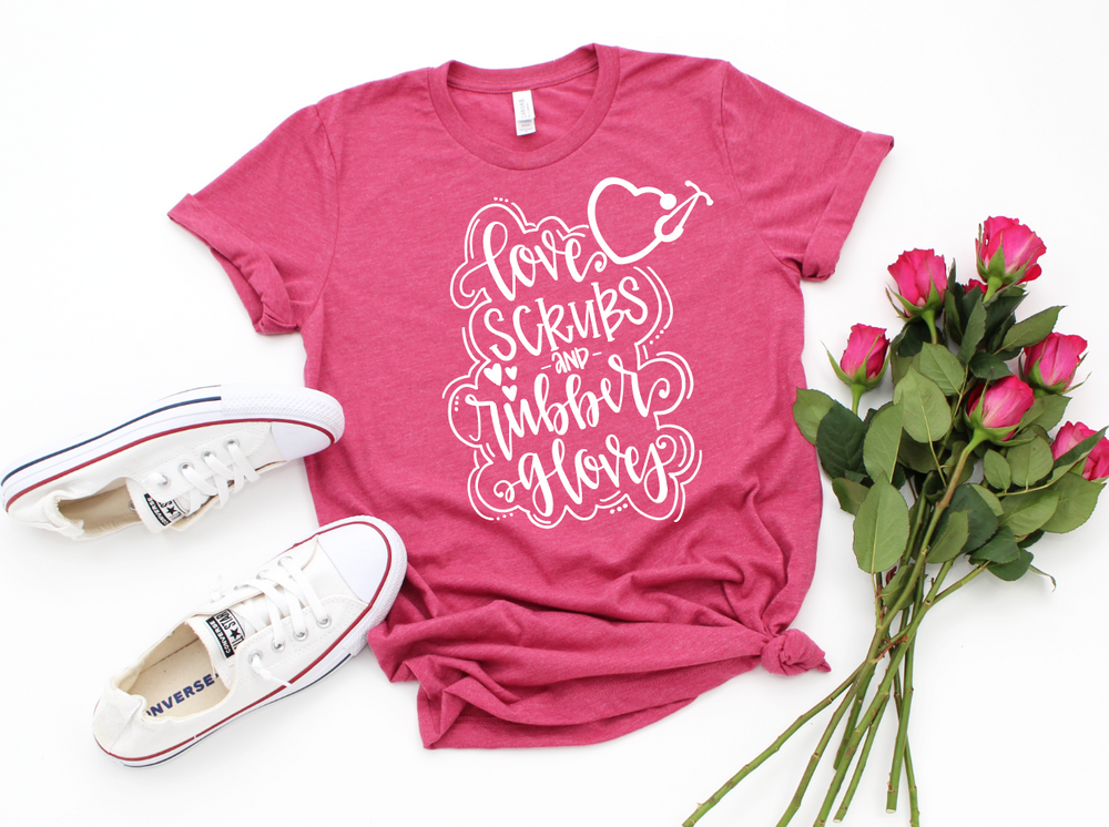Love Scrubs and Rubber Gloves Short Sleeve Tee