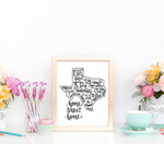 Texas Home Sweet Home Hand Lettered 8 x 10 Printable
