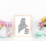 Maine Home Sweet Home Hand Lettered 8 x 10 Printable