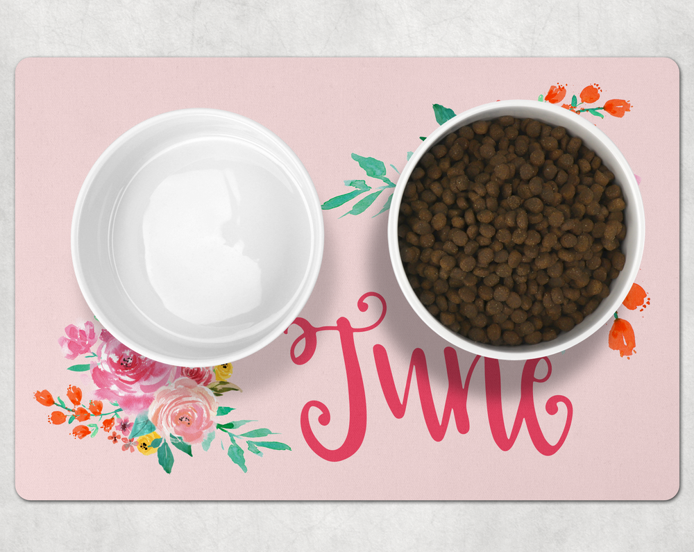 Personalized Floral Pet Placemat