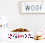 Personalized Pawprint Ceramic Pet Bowl
