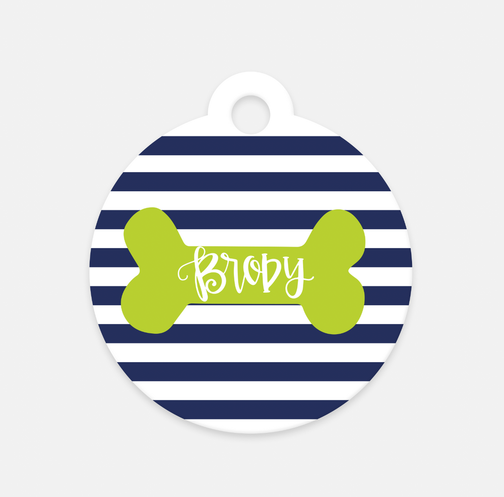 Personalized Striped Pet Tag