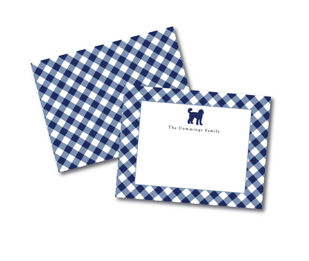 CHOOSE YOUR BREED Personalized Gingham Notecards