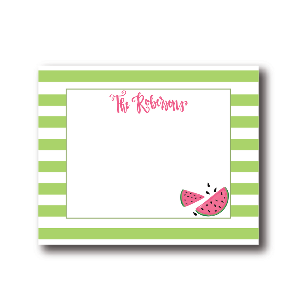 Personalized Watermelon Flat Notecards