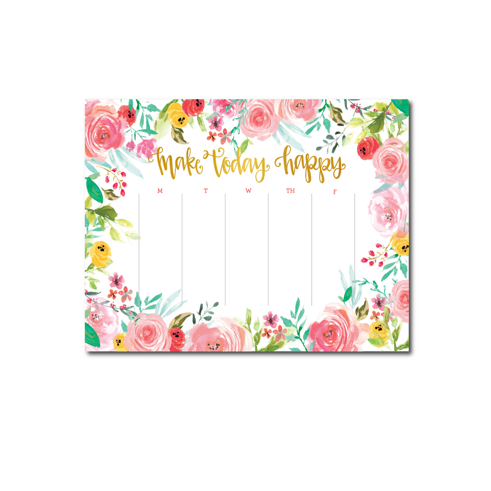 Make Today Happy Weekly Planner Notepad
