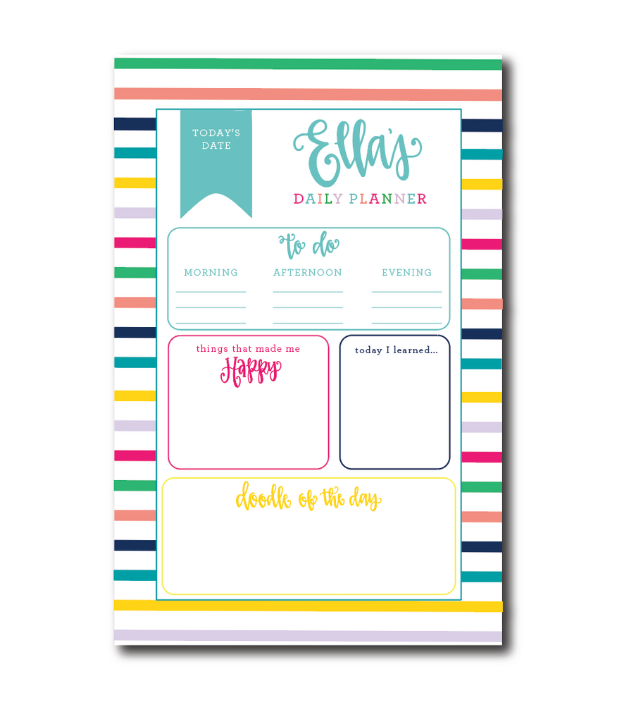 Personalized Kids Daily Planner Notepad