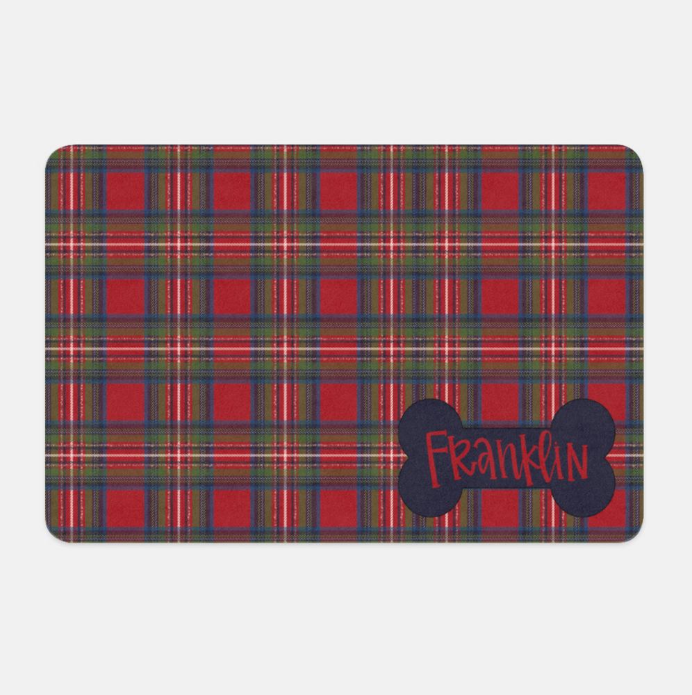 Personalized Christmas Plaid Pet Placemat