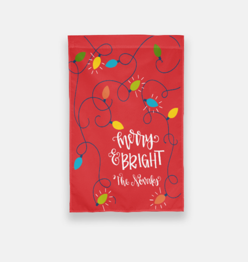 Merry and Bright Personalized Garden Flag