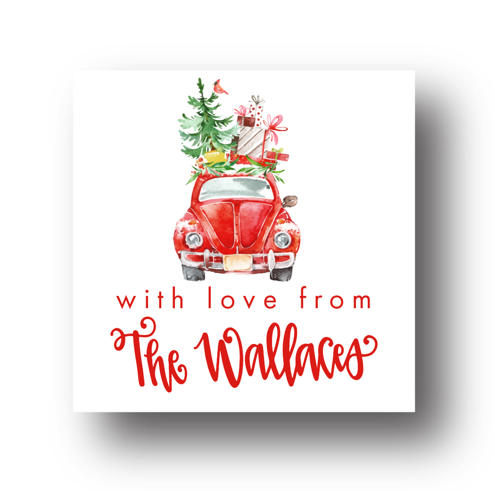 Christmas Car Personalized Gift Label