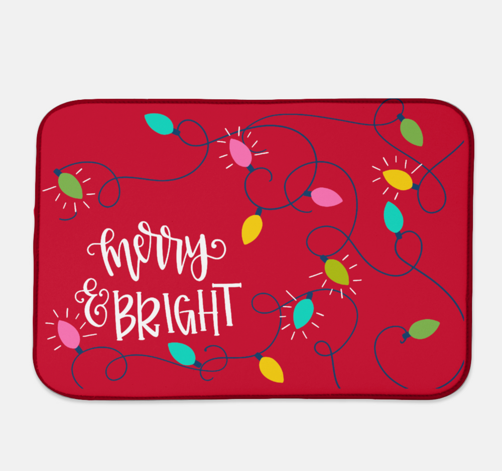 Merry and Bright Christmas Drying Mat