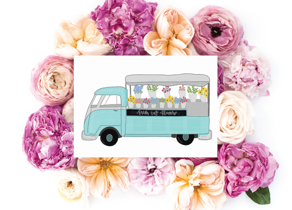 Fun Flower Cart Greeting Card