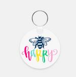 Bee Happy Acrylic Plastic Keychain