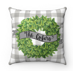 Personalized Boxwood / Buffalo Check Pillow
