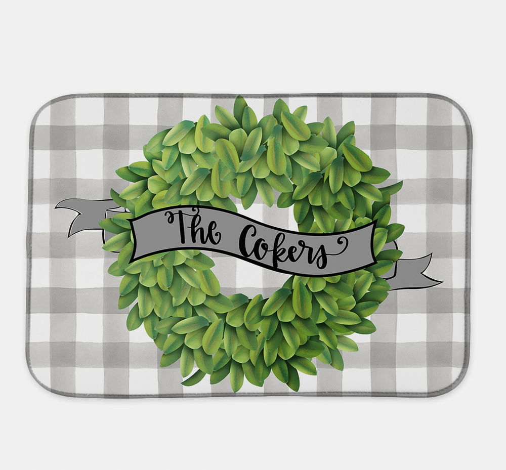 Personalized Boxwood Wreath Drying Mat