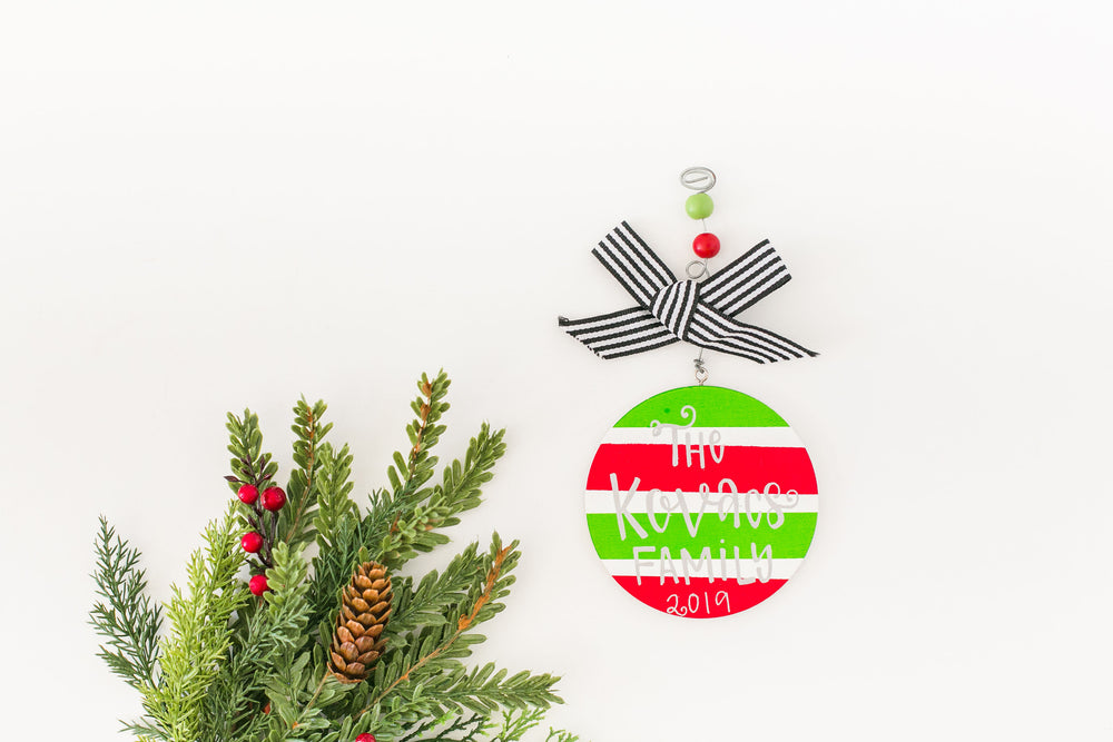 Striped Personalized Wood Ornament
