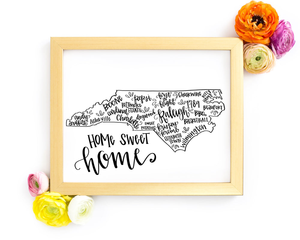 North Carolina 8 x 10 Hand Lettered Printable