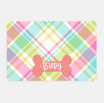 Personalized Spring Plaid Pet Placemat
