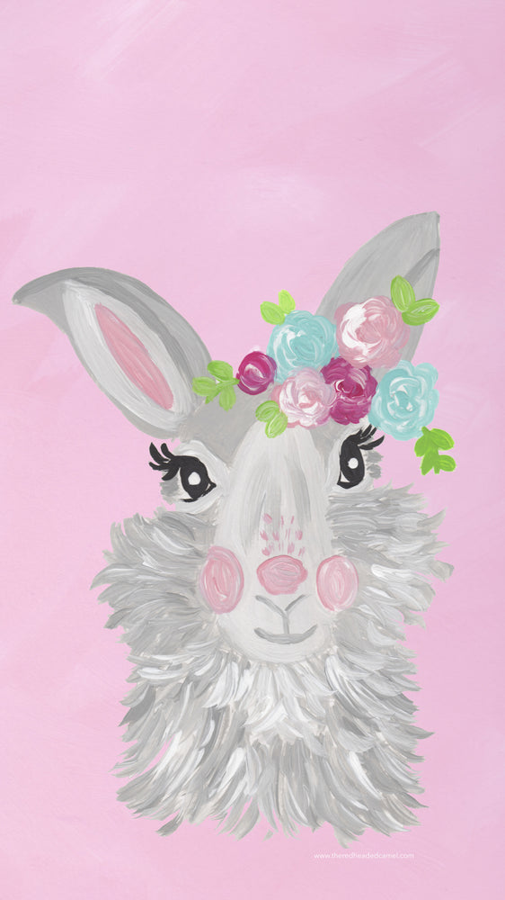 Floral Bunny Phone Background Freebie