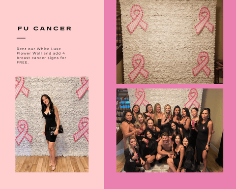 Breast Cancer signs on White Silk Flower Wall