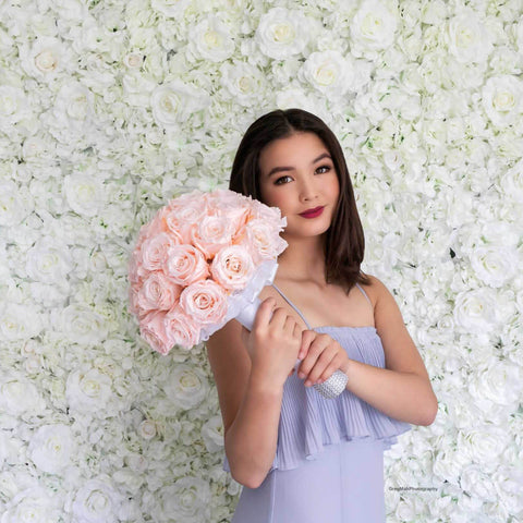 Rosé Designs Silk Flower Wall White Luxe