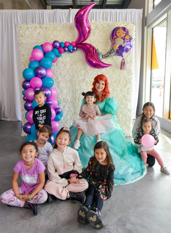 Rosé Designs YYC Mermaid Themed Kid's Birthday Party with Balloon Garland