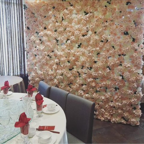 Rosé Designs YYC Pink Flower Wall at T.Pot China Bistro