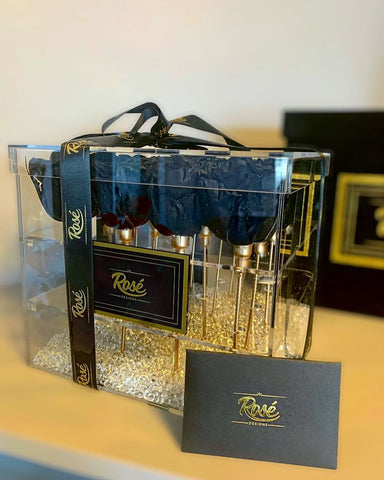 Rosé Designs 16 rose box with Black Rose and gold packaging