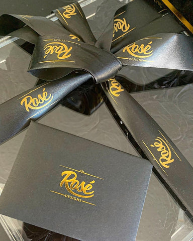 Rosé Designs black and gold ribbon and card