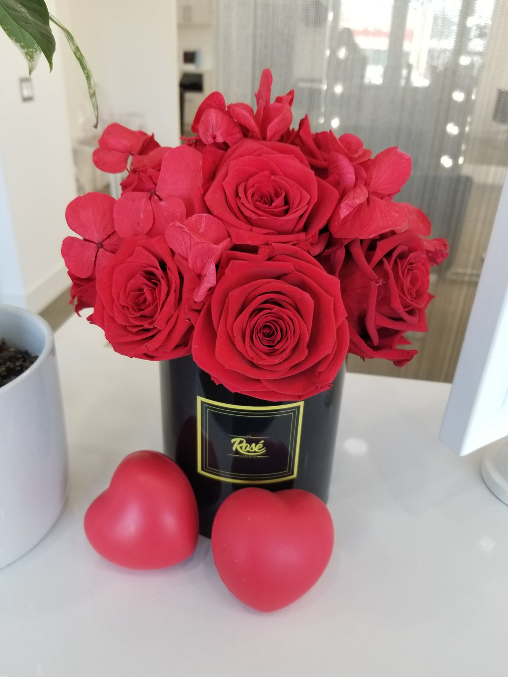 1 Dozen Red Rose Bouquet with Hydrangeas