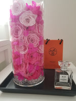 Three Shade Pink Roses Ombre Flower Arrangement