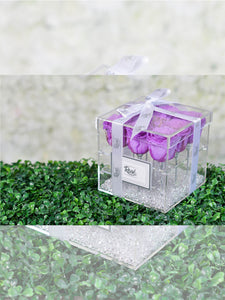 9 Purples Eternal Roses clear acrylic flower box