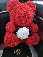 Red Sitting Red Bear with Extra-Large Ecuadorian Rose
