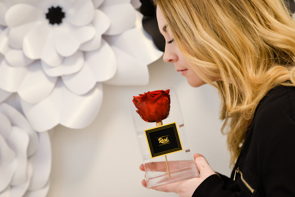 Girl smelling Single Red Rose in Clear Box