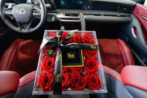 Red Rose Box inside Lexus with red leather
