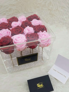 Red and Pink Eternal Rose in clear acrylic box