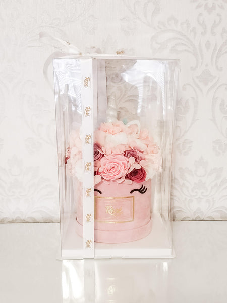Pink White Unicorn Bouquet in Clear Gift Box
