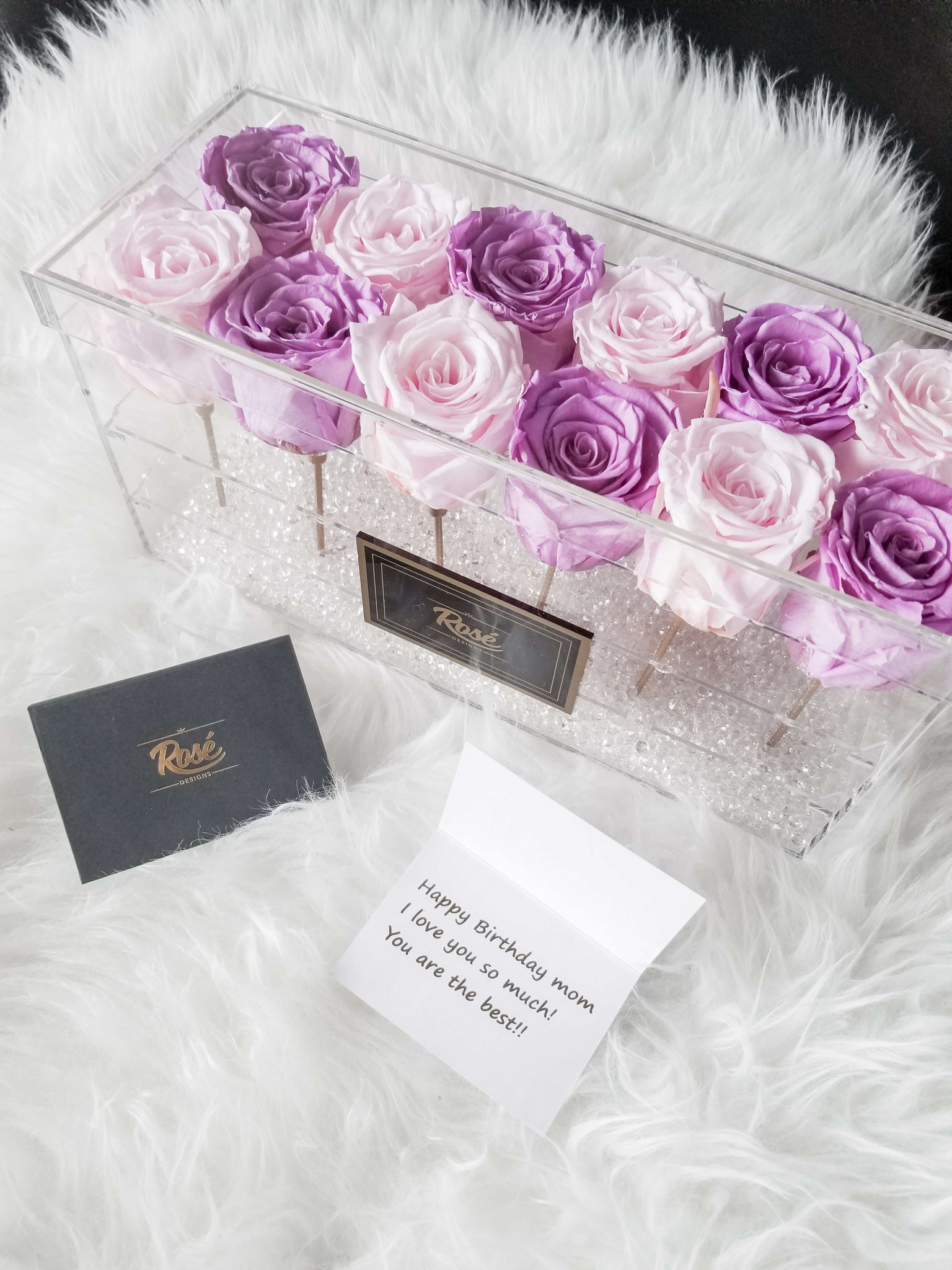 12 eternal Purple Pink Roses Acrylic Flower Box