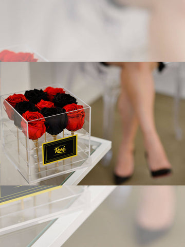 9 Red Black Eternal Roses Acrylic Flower Box