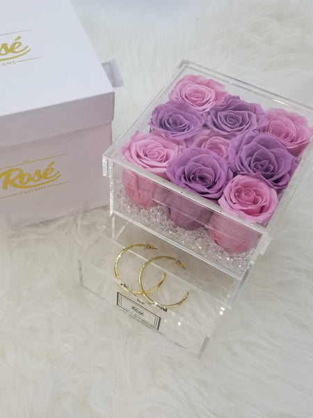 9 Purple Pink Eternal Roses Jewelry Box Gift
