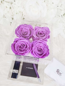 4 Purples Eternal Roses in acrylic jewelry box