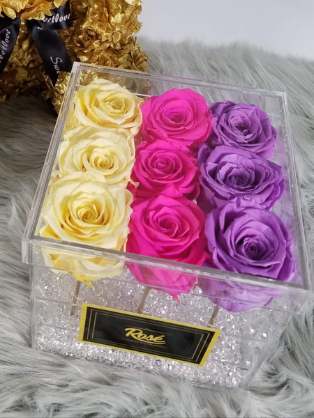 Ombre Pattern Preserved Roses Clear Acrylic Flower Box