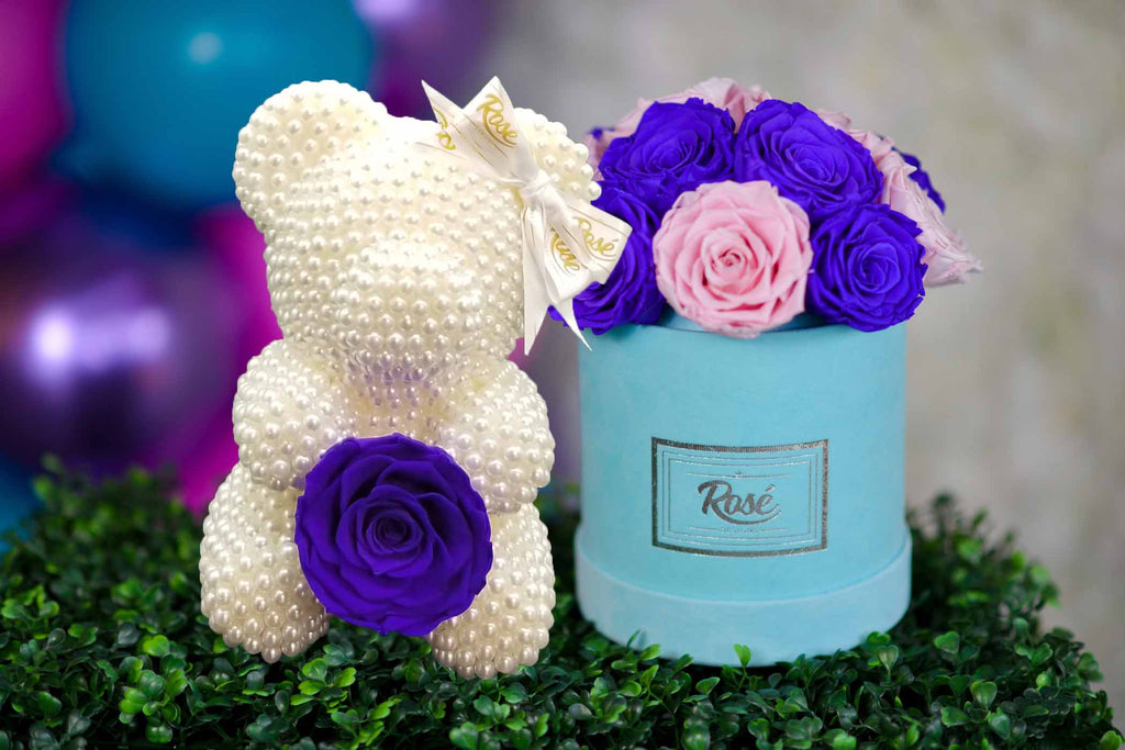 White Pearl Rose Bear with Purple Pink Bouquet