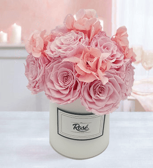Pink Roses and Hydrangeas Bouquet in White Vase