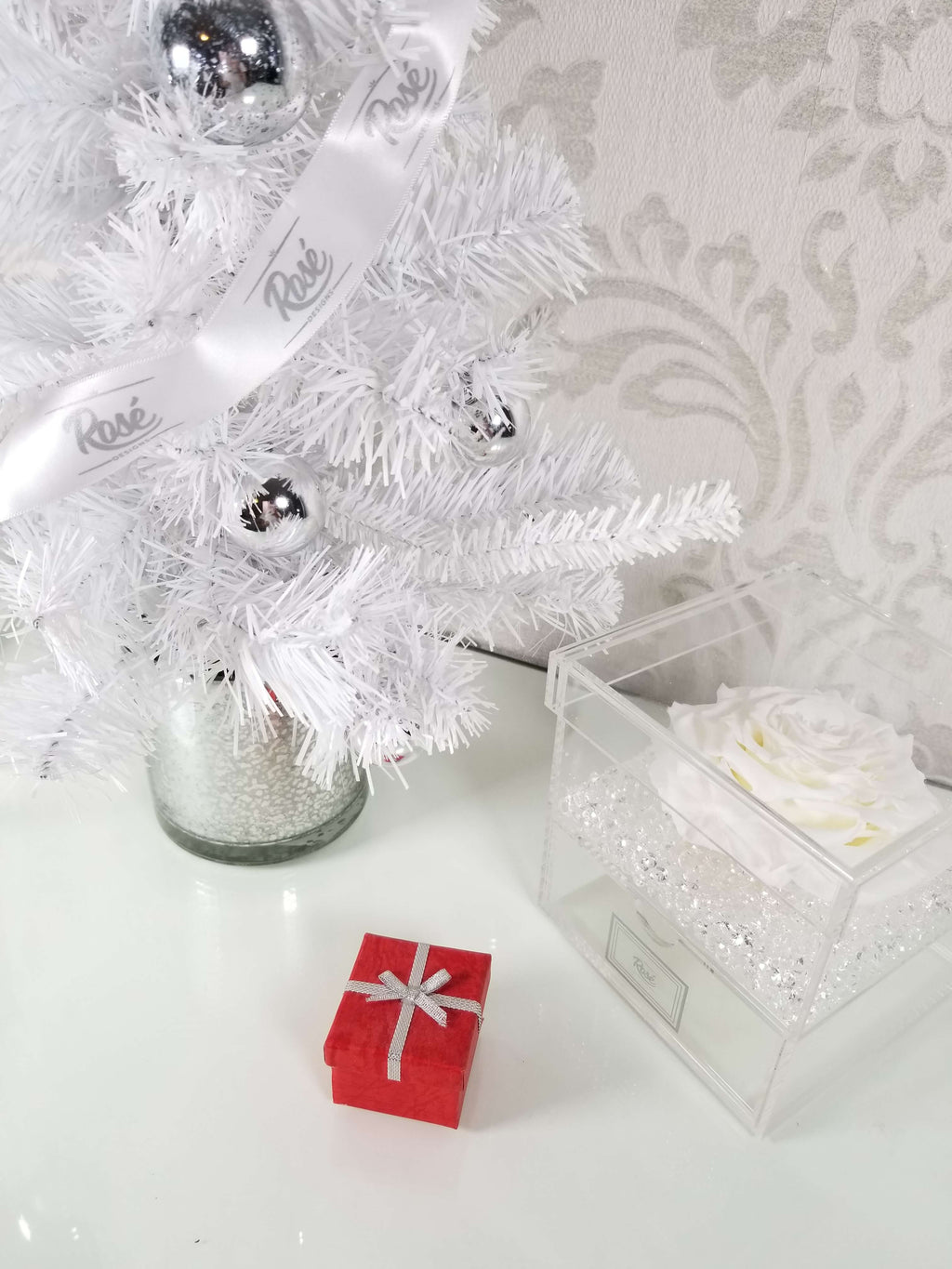 White Single Eternal Ecuadorian Rose Christmas Gift