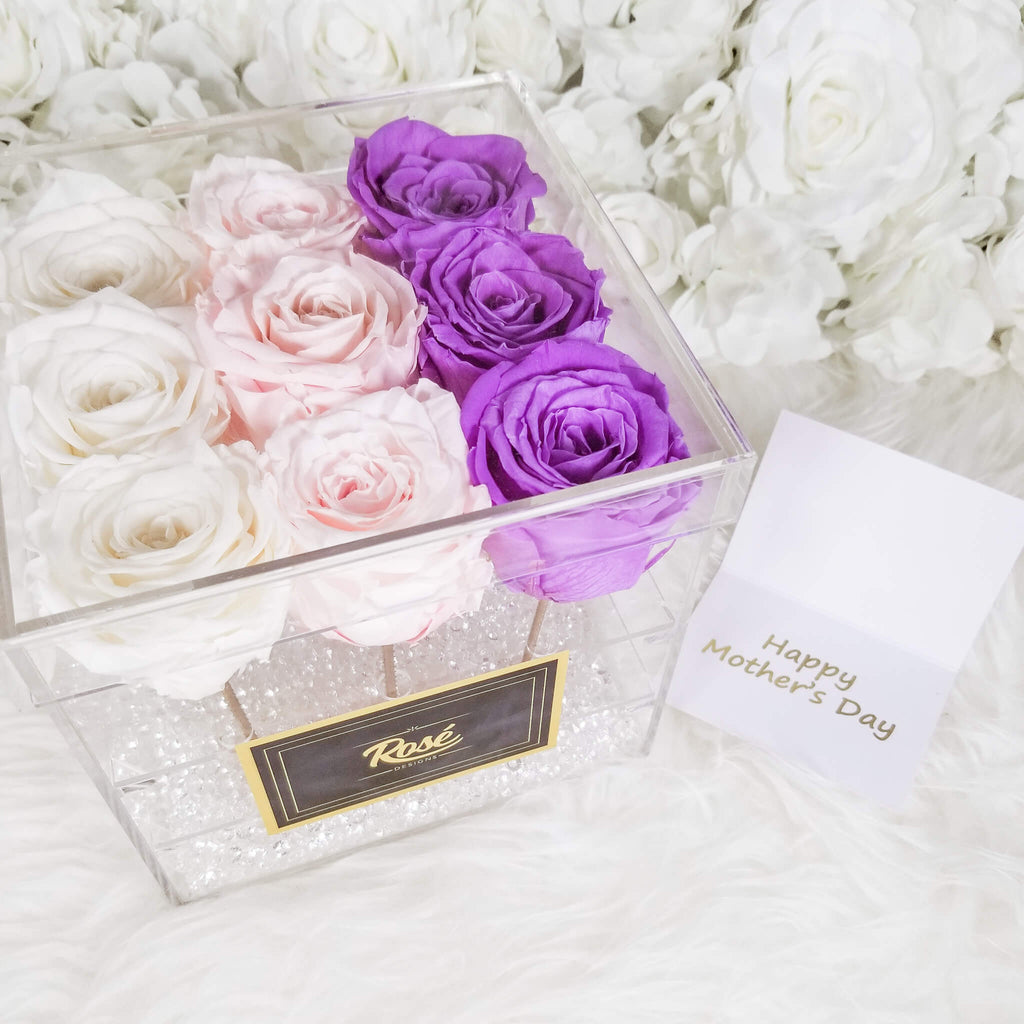 Ombré 9 Rose Acrylic Box | Real Preserved Roses | Forever | Long-Lasting | Birthday Gift | Anniversary | Baby Shower | Thank you | Decor