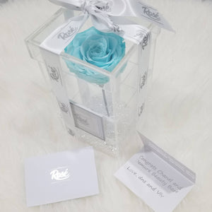 Rosé Designs YYC Single Rose Box Red Real Preserved Rose in Acrylic Box | Forever | Eternal | Long-Lasting | Birthday Gift | Anniversary | Baby Shower | Thank you | Decor