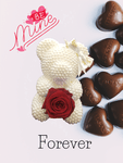 White Pearl Bear with Chocolate Hearts