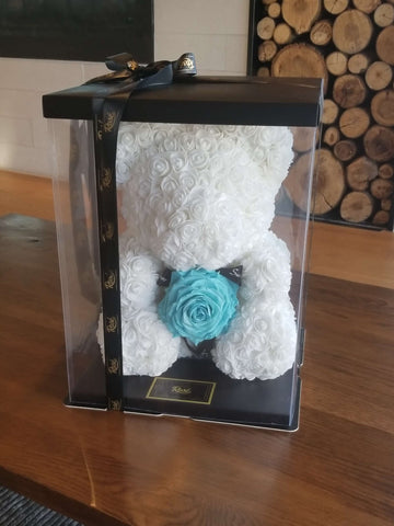 White rose Bear with Giant Turquoise Rose